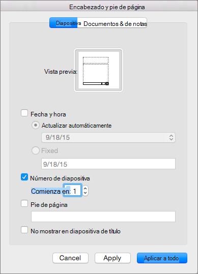 Muestra el cuadro de diálogo Encabezado y pie de página en PowerPoint 2016 para Mac.