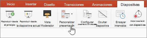Botón reproducir presentación personalizada