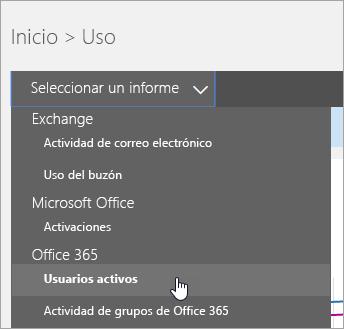 """En la lista desplegable """"Seleccionar un informe"""", haga clic en """"Usuarios activos""""."""