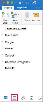 Seleccione el botón calendario en la parte inferior de la lista de carpetas en Outlook