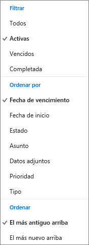 Elija cómo filtrar, organizar y ordenar tareas en la Lista de tareas de Outlook.com