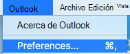 Mostrar preferencias de Outlook