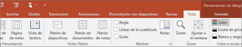 Muestra la pestaña Vista en la cinta de PowerPoint