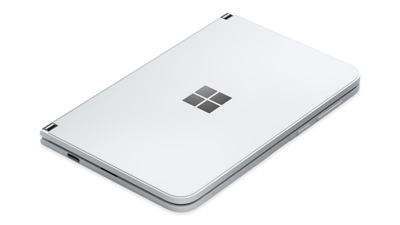 Surface Duo cerrada con el botón de Encendido a la derecha