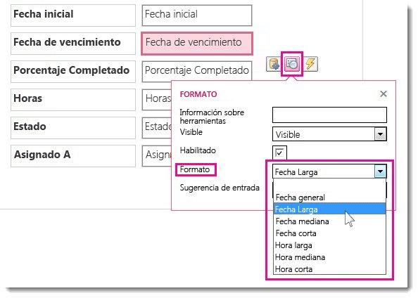 Imagen del menú Formato en una aplicación de Access.