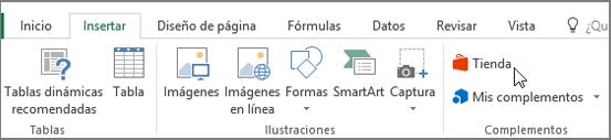 Captura de pantalla de una sección de la ficha Insertar en la cinta de opciones de Excel con un cursor apuntando a la tienda. Seleccione almacenamiento para ir a la tienda de Office y busque el complemento de Excel.