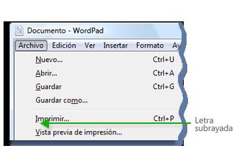 Imagen del menú de Microsoft WordPad donde se muestran letras subrayadas en los comandos de menú