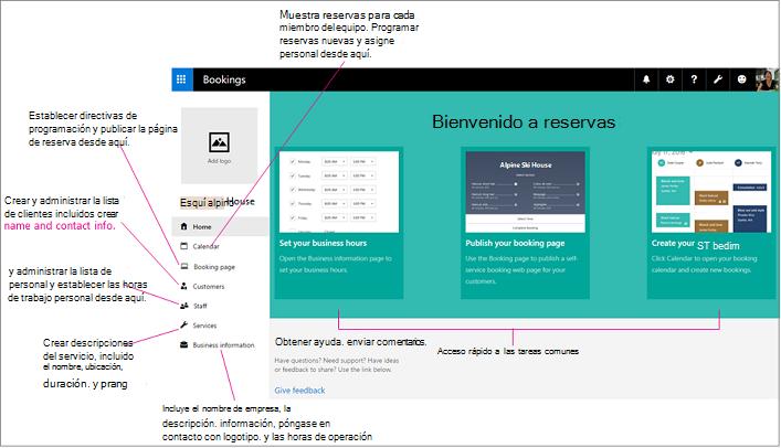 Página principal de la pantalla de reservas con espacio de logotipo y barra de navegación izquierda resaltado