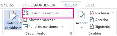 Fragmento de Revisar: Interfaz de Revisión sencilla
