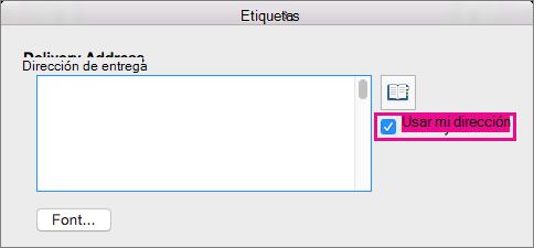 Para usar la dirección que ya haya configurado en Word, seleccione Usar mi dirección.