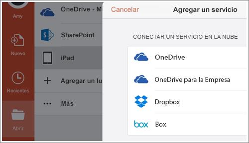 Captura de pantalla de agregar un lugar en PowerPoint para iPad.