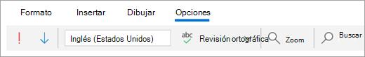 Captura de pantalla de la pestaña Opciones