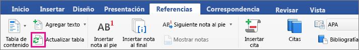 """Haga clic en """"Actualizar tabla"""" en la pestaña """"Referencias"""" para actualizar la tabla de contenido de un documento."""