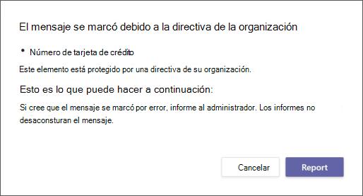 Cuadro de diálogo que explica por qué la directiva de prevención de pérdida de datos de una organización marcó un mensaje