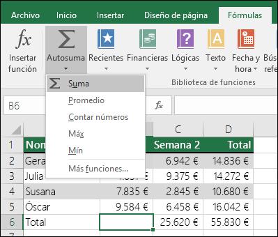 Puede usar el asistente Autosuma para crear automáticamente una fórmula SUMA.  Seleccione un rango arriba o abajo o a la derecha o a la izquierda del rango que se va a sumar y vaya a la pestaña Fórmula de la cinta de opciones, después seleccione Autosuma y SUMA.