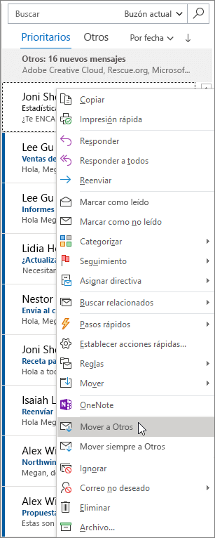 Bandeja de entrada Prioritarios en Outlook