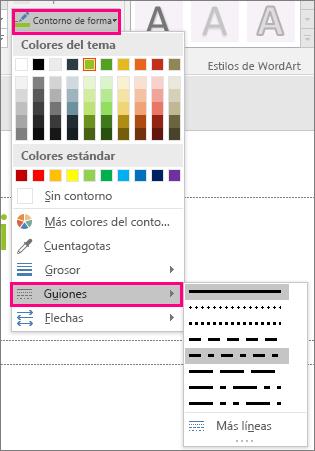 Muestra distintos estilos de línea en Office