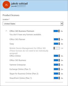 Elija el software al que quiere que tenga acceso el usuario.