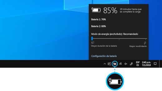 Estado de carga de la batería de Surface Book en la barra de tareas del escritorio.