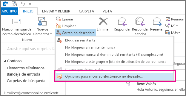 Menú Correo no deseado en Outlook 2013