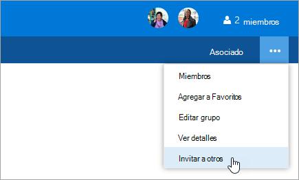 Captura de pantalla de la invitación a otras personas del botón en el menú de configuración de grupo.