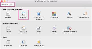 Cuadro Preferencias de Outlook