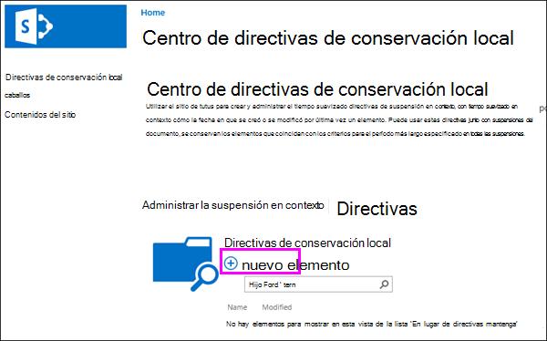 Nueva opción de producto en el centro de directivas de suspensión en contexto