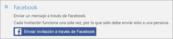 """Captura de pantalla con un primer plano de la sección """"Facebook"""" del cuadro de diálogo """"Agregar a alguien"""" con el botón """"Enviar invitación a través de Facebook""""."""