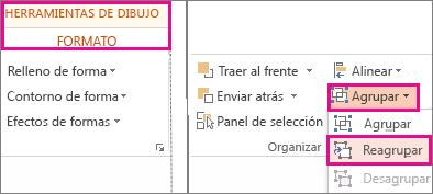 Botón Reagrupar en la ficha formato en Herramientas de dibujo