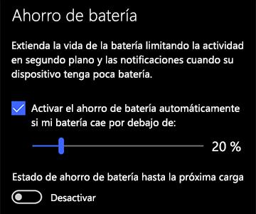 Imagen de la configuración de ahorro de batería