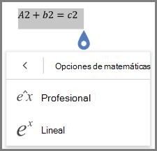 Mostrar formatos de ecuaciones matemáticas