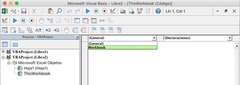 Editor de VBE mostrando lista desplegable de selección de objeto