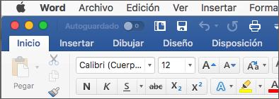 La cinta de opciones en Word para Mac en el tema multicolor