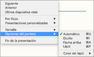 Presione la tecla Control y haga clic para ver una lista de comandos mientras graba