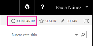 Captura de pantalla del control Compartir para compartir un sitio