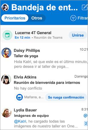 Muestra la bandeja de entrada de Outlook