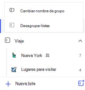 Captura de pantalla del grupo lista de recorrido y el menú Editar abierto con, opción para cambiar el nombre de grupo y desagrupar listas