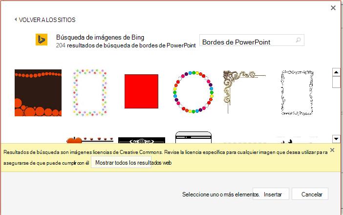 Resultados de búsqueda de bordes de PowerPoint en Bing.