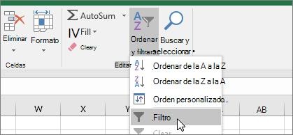 Inicio > Ordenar y filtrar > Filtro