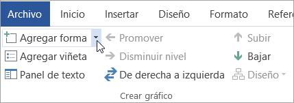 El botón Agregar forma en el grupo Crear gráfico