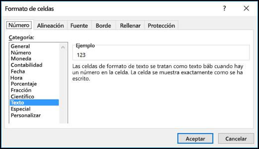 Cuadro de diálogo Formato de celdas donde se muestra la pestaña Número y la opción Texto seleccionada