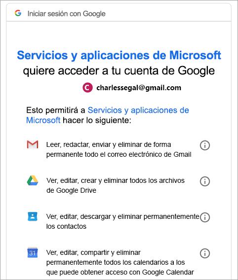 solicitar permiso de Google