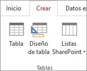 Comando de la cinta de opciones de Access para Crear > Diseño de tabla