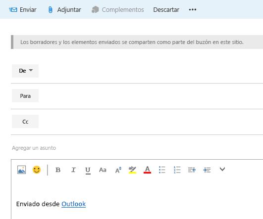 Agregar direcciones a un correo electrónico en el buzón del sitio