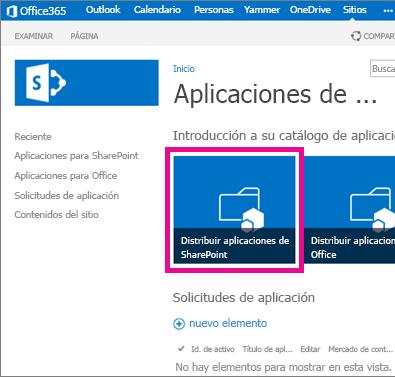 El Distribuir Aplicaciones para SharePoint mosaico en un sitio Catálogo de aplicaciones