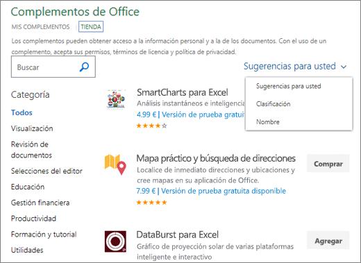 """Captura de pantalla de la sección de la tienda de la página de complementos de Office, donde puede buscar un complemento por su clasificación, nombre, o use la opción """"Sugeridos para usted"""". También puede usar el cuadro de búsqueda para buscar un complemento."""