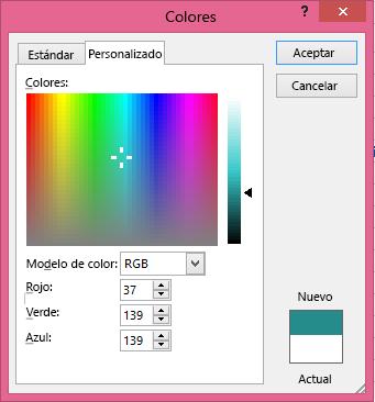 Opción de combinación personalizada de colores