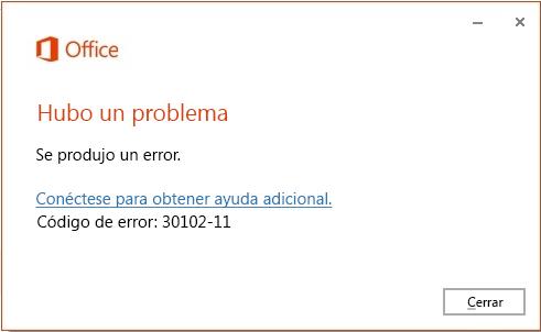 Código de error 30102-11 al instalar Office