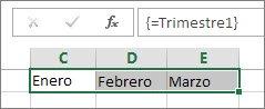 Una constante con nombre usada en una fórmula de matriz