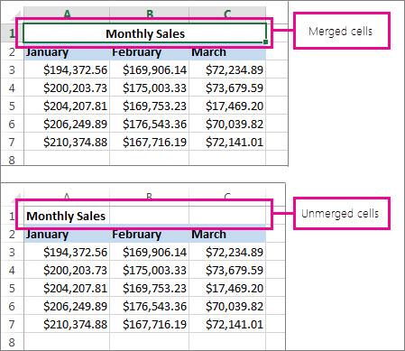 Combinar y anular la combinación de celdas - Excel